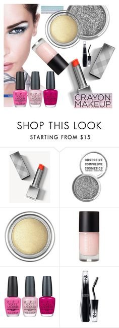 """""""Crayon-Inspired Makeup"""" by airin-flowers ❤ liked on Polyvore featuring beauty, Maybelline, Burberry, Obsessive Compulsive Cosmetics, Christian Dior, OPI, Lancôme and Color"""
