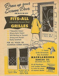Their house was faced with white ship-lap siding and black trim on window screens and screen doors. The simple wrought iron porch supports were yellow as was the lawn swing and all the lawn chairs. The front screen door had the grille with the bird pictured at the right of this image.  It's one of the most iconic images on this board. That could be Mam-maw about to go through that door - coming home after delivering her Stanley House Products.