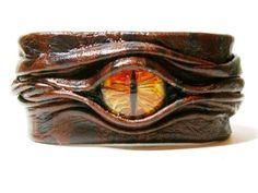 Evil eye, snake eye, dragon eye adjustable Brown leather bracelet cuff.. | LeatherJewelryArt - Leather Craft on ArtFire