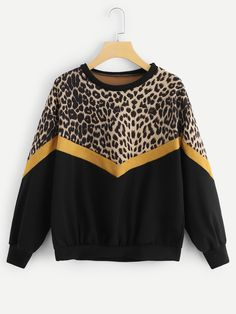 online shopping for Romwe Women's Long Sleeve Colorblock Patch Leopard Graphic Print Sweatshirt Pullover Top from top store. See new offer for Romwe Women's Long Sleeve Colorblock Patch Leopard Graphic Print Sweatshirt Pullover Top Hoodie Sweatshirts, Printed Sweatshirts, Plus Size Pullover, Pullover Mode, Tops Tumblr, Sweat Shirt, Plus Size Sweaters, Spring Shirts, Style Casual