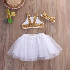 Toddler Baby Girls Gold Sparkle Sequins Design Tops Tutu Skirt and 3 Pcs Outfit Set Baby Tutu Dresses, Baby Girl Party Dresses, Dresses Kids Girl, Flower Girl Dresses, Tutu Skirts, Tutu Outfits, Girls Sequin Top, Kids Dress Wear, Baby Dress Design