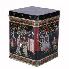 Oriental Chinese tea caddy, a large square caddy with hinged lid Holds up to of most loose leaf teas 1970s Childhood, My Childhood Memories, Sweet Memories, Vintage Tins, Retro Vintage, Tea Sets Vintage, Chinese Black Tea, Tea Caddy, Old Toys