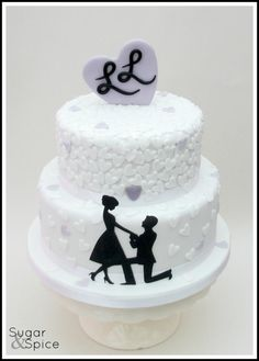 Marry Me ? Engagement cake with silhouette and hearts