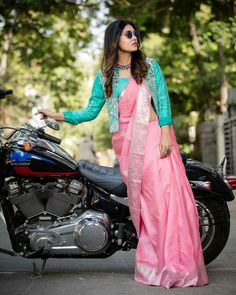 Creative Blouse Ideas For The Most Awesome Silk Saree Style! Creative Blouse Ideas For The Most Awesome Silk Saree Style! Half Saree Designs, Saree Blouse Neck Designs, Fancy Blouse Designs, Latest Blouse Designs, Kurta Designs, Dress Designs, Blouse Patterns, Saree Wearing Styles, Saree Styles