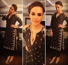 """""""Oozing w/ glamour on Comedy Nights, #Bollywood Actor @NehaDhupia swept us with her all black #Desi-ness. In a gorgeous shoulder cut-out kurta from Payal Singhal and Swarovski jewellery accents, Neha Dhupia made for an ethereal appearance. The pretty bun by Younten Tsomo and smoky eyes by Sonic Sarwarte did complete justice to this mesmerising look.""""  #Bollywood Fashion fashionlady.in via @sunjayjk"""