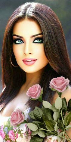 Beautiful Gif, Beautiful Long Hair, Beautiful Roses, Stunning Eyes, Gorgeous Women, Beautiful Pictures, Digital Art Girl, Digital Portrait, Romantic Couple Images