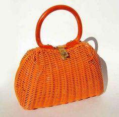 Vintage 50s 60s Lesco Lona Handbag Orange Wicker Basket Pocketbook Lucite Handle Purse by JustLinnea
