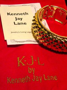 Kenneth Jay Lane Gold Sculpted Cuff Bracelet Authentic KJL with papers & box #KennethJayLane