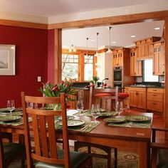 5126 Fairglen - traditional - dining room - dc metro - by Christian Gladu Design Nice kitchen cabinets. Old Kitchen Cabinets, Kitchen Cabinet Styles, New Kitchen, Kitchen Dining, Dining Rooms, Kitchen Ideas, Warm Kitchen, Stylish Kitchen, Oak Cabinets