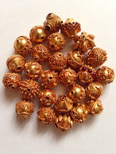 Handmade Gold Beads with Fine Granulation Technique