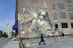 Street Art : First mural painted by Faith47 during the Wall Therapy 2012 Rochester, USA. © Wall Therapy