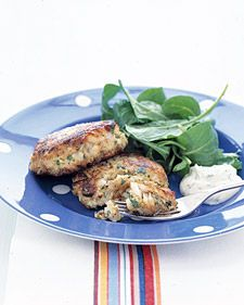 "See the ""Lemon-Parsley Fish Cakes"" in our Quick Fish and Shellfish Recipes gallery Recettes Martha Stewart, Martha Stewart Recipes, Cod Recipes, Cooking Recipes, Healthy Recipes, Quick Recipes, Dinner Recipes, Healthy Meals, Healthy Eating"