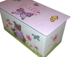 https://www.etsy.com/shop/coopercreations Childrens toy box - Bears, butterflies and flowers oh my