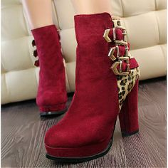 Womens Boots | Elegant Suede Buckle Red Round Closed Toe Chunky Super High Heel Boots - Hugshoes.com