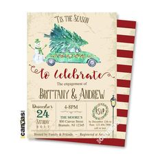 Christmas Tree Engagement Party Invitation Holiday Bridal Christmas Bridal Showers, Photo Thank You Cards, Rustic Shabby Chic, Bar Wrappers, Engagement Party Invitations, Favor Tags, Holiday Parties, Christmas Tree, Xmas