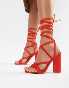 b7188b07740 Public Desire Julia red block heel tie up sandals