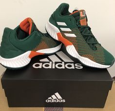 68f3c56c1cf Miami Hurricanes adidas 2018 Pro Bounce Basketball Sneaker Basketball  Moves