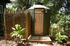 Surf Shack Outhouse by Ashley Camper Photography Outdoor Toilet, Outdoor Baths, Outdoor Bathrooms, Outdoor Showers, Cottage Porch, Porch Garden, Outdoor Areas, Outdoor Structures, Stone Deck