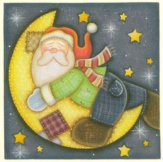 SANTA Y LUNA Christmas Decoupage, Christmas Wood Crafts, Christmas Sewing, Country Christmas, Christmas Time, Christmas Decorations, Christmas Ornaments, Christmas Graphics, Christmas Clipart