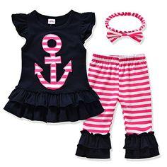 Miniowl ® Toddler Girls' 3 Pieces Capri Set Black Top with Headband (6t)