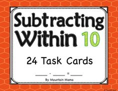 Subtracting Within 10 Math Task Cards for Kindergarten and First Grade