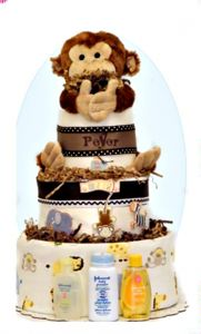 Baby Boys Monkey Fun Shower Diaper Cake - Pink Baby Boutique