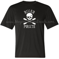 Kayak River Pirate Skull Tee T Shirt Mens by MoyerCustomDecals Kayaking Kayaker