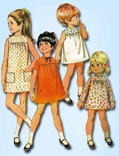 1960s Vintage McCalls Sewing Pattern 9249 Toddler Girls High Yoke Dress Size 6…