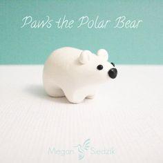 Polymer Clay Polar Bear Miniature Sculpture Pocket by MeganSiedzik, $10.00