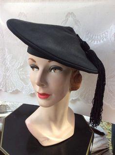 Vintage 1930s 1940s Hat New York Creations Black Grosgrain Faille Tassel Mortar Board Tilt Style Hat by TimelessTreasuresVCB on Etsy