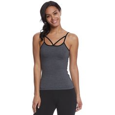 Hard Tail Strappy Front Yoga Tank Top ($48) ❤ liked on Polyvore featuring activewear, activewear tops, spaghetti strap camisole, balconette bra, yoga cami, strappy cami and yoga activewear