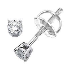 White Round Diamond Solitaire Rhodium Plated Over Sterling Silver Stud Earrings