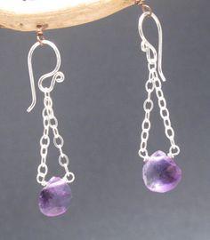 Amethyst Drop earrings on link chain Venus 65 by CalicoJunoJewelry on Etsy https://www.etsy.com/listing/102578828/amethyst-drop-earrings-on-link-chain
