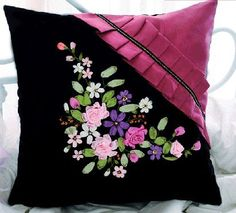 Blue Moon Needlecrafts - Mothers Day Gift, Stamped Ribbon Embroidery Kit, Flowers in Purple Decorative Throw Pillow Case, 20 By 20 Inches Hand Embroidery Stitches, Silk Ribbon Embroidery, Hand Embroidery Designs, Embroidery Patterns, Sewing Pillows, Diy Pillows, Decorative Throw Pillows, Cushion Cover Designs, Pillow Cover Design