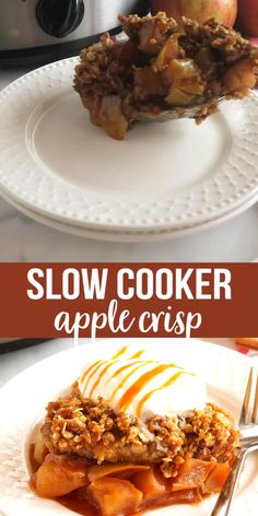 This Slow Cooker Apple Crisp recipe is such an easy dessert recipe that's perfect for fall! Using only fresh apples and a few basic pantry ingredients, it makes for a simple fall dessert that everyone will love, made easy in the slow cooker or Crock Pot! Crockpot Dessert Recipes, Crock Pot Desserts, Slow Cooker Desserts, Fall Dessert Recipes, Crockpot Dishes, Thanksgiving Recipes, Fall Recipes, Cooking Recipes, Crock Pot Apple Dessert