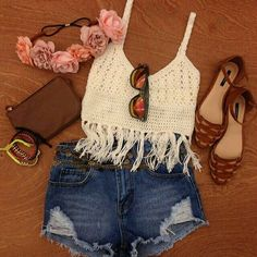 Fringe crop top and high waisted shorts