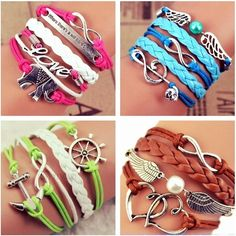 Beautiful Charm Leather Bracelets Brand New Lovely Charm Leather Bracelets. Pick any 4️⃣ Designs you Love the Most and Get Them For This Special Price... Take a Look At My Closet ... I Have So Many Designs With So Many different Charms‼️DON'T MISS OUT‼️ Jewelry Bracelets