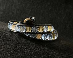 Leather Wrapped Bracelet with Buttery Yellow and by DESIGNBYSTARLA, $30.00
