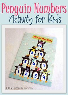 Fun Penguin counting activity for preschool.