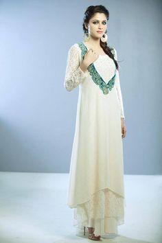 Pure white Anarkali multi-layer dress