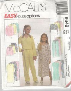 McCalls 9649 sewing pattern girls children nightgown & pjs long & short sz XS-S #McCalls
