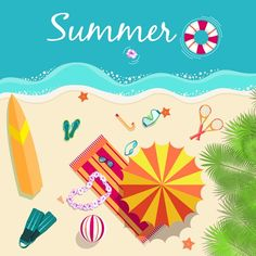 Fresh summer beach illustration - vector graphics