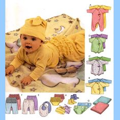 681 McCalls 3665 Babys Layette Coveralls Top T Shirt Bodysuit Romper Pants Diaper Cover Blanket Booties Bib Hat size NB S M L Sewing Pattern by ladydiamond46 on Etsy