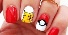 Freehand pokemon nail art featuring Pikachu and a poke ball nail.