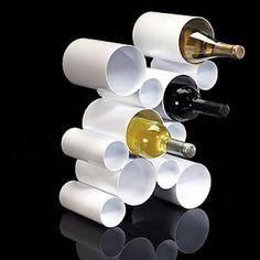 This page is loaded with ideas made out of PVC pipe, I love this chic wine rack! Just saw a show that made this it's so cheap awesome Xmas gifts!!!