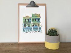 Melbourne Terrace Homes illustrated watercolour by VicinityStore
