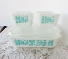 Pyrex Amish Butterprint Refrigerator Dish Casserole Set Turquoise White Milk Glass Aqua. $29.00, via Etsy.