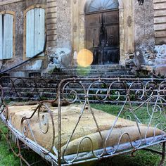 An old,iron,fold up bed,seemed too hard to resist at the local brocante.