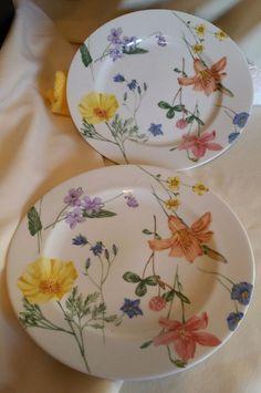 """Set of 2 Mikasa 10 7/8"""" Dinner Plate Lilliette /  Floral Splendor FREE SHIPPING"""