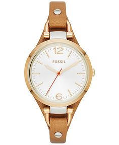Fossil Women's Georgia Brown Leather Strap Watch 26mm ES3565 - Watches - Jewelry  Watches - Macy's
